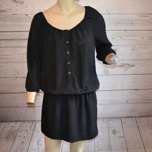Express Black Button Down Gathered Dress Sm P